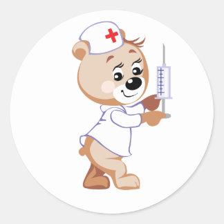 Nurse Bear Round Stickers
