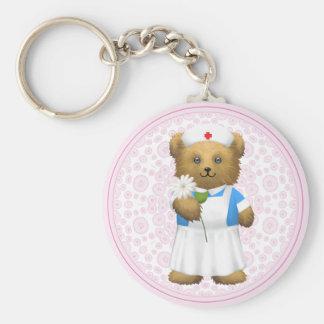 Nurse Bear - Teddy Bear Basic Round Button Keychain