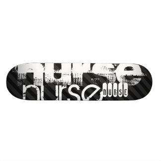 Nurse; Black & Dark Gray Stripes Skateboard Deck
