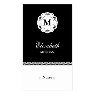 Nurse Black White Lace Monogram Double-Sided Standard Business Cards (Pack Of 100)