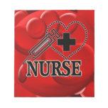 NURSE BLOOD CELLS   SYRINGE HEART LOGO NOTE PADS
