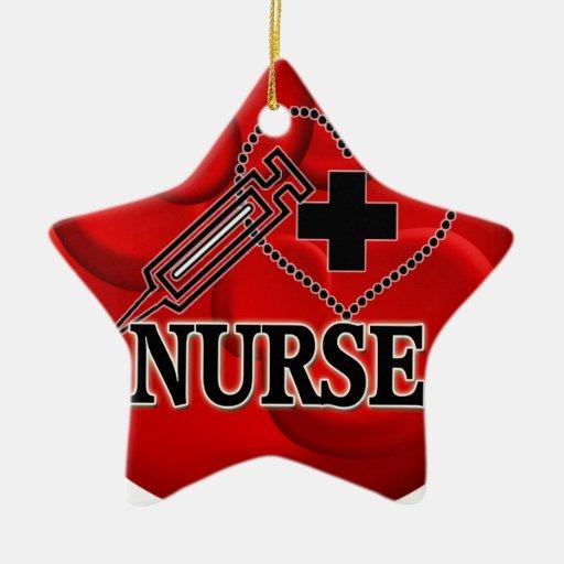 NURSE BLOOD CELLS SYRINGE HEART LOGO Double-Sided STAR CERAMIC CHRISTMAS ORNAMENT