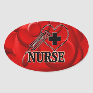 NURSE BLOOD CELLS SYRINGE HEART LOGO OVAL STICKER
