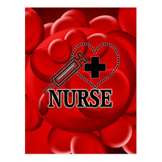 NURSE BLOOD CELLS SYRINGE HEART LOGO POSTCARD