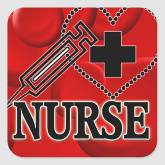 NURSE BLOOD CELLS SYRINGE HEART LOGO SQUARE STICKER