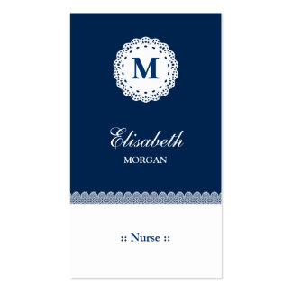 Nurse Blue White Lace Monogram Double-Sided Standard Business Cards (Pack Of 100)