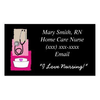 Nurse  Business Cards Black and Pink