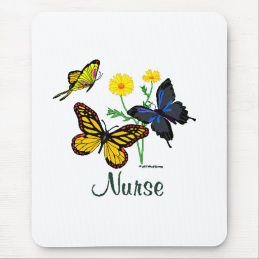 Nurse Butterflies Mouse Pad