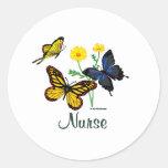 Nurse Butterflies Round Sticker