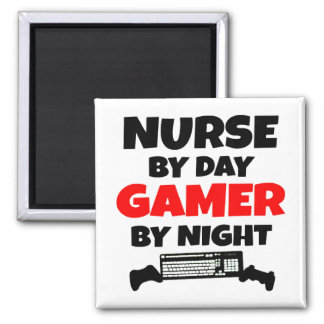 Nurse by Day Gamer by Night 2 Inch Square Magnet