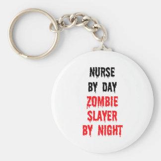 Nurse By Day Zombie Slayer By Night Basic Round Button Keychain