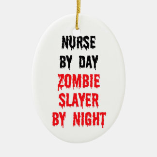 Nurse By Day Zombie Slayer By Night Double-Sided Oval Ceramic Christmas Ornament