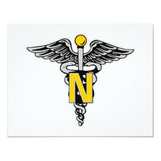 Nurse Caduceus 4.25x5.5 Paper Invitation Card
