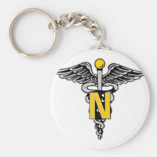 Nurse Caduceus Basic Round Button Keychain