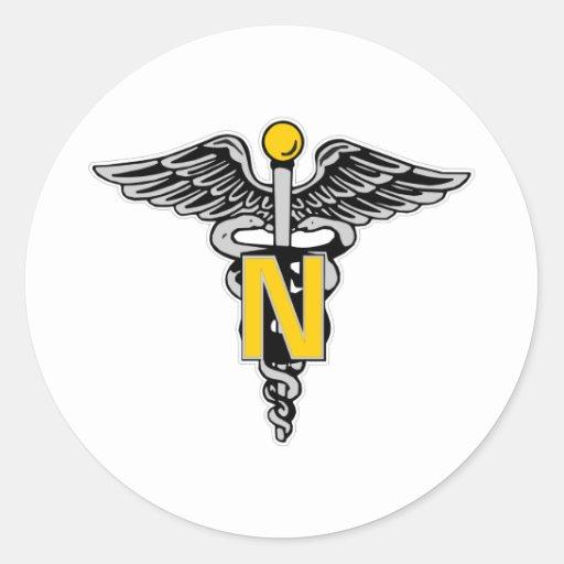 Nurse Caduceus Classic Round Sticker