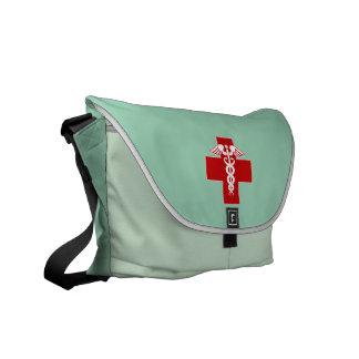 Nurse Caduceus Scrubs Green Courier Bags