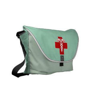 Nurse Caduceus Scrubs Green Messenger Bag
