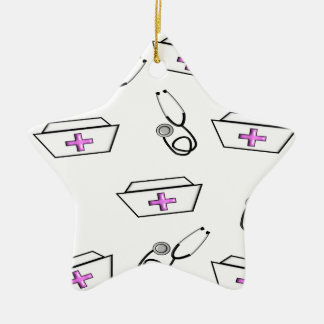 Nurse Cap and Stethoscope Double-Sided Star Ceramic Christmas Ornament