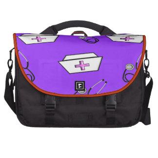 Nurse Cap and Stethoscope Purple Laptop Computer Bag