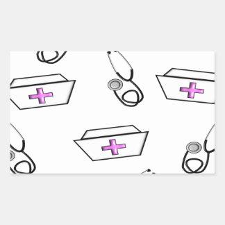 Nurse Cap and Stethoscope Rectangular Stickers