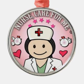 Nurse Care For Me Dark Hair Pink Metal Ornament