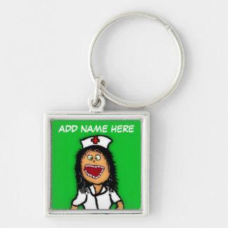 Nurse Cartoon Silver-Colored Square Keychain