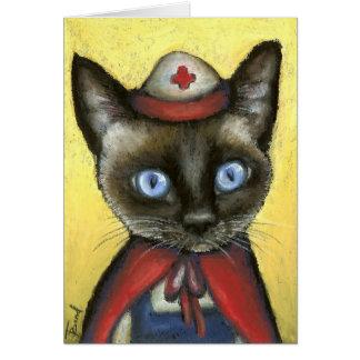 Nurse cat greeting card