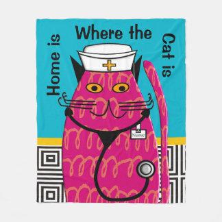 Nurse Cat Lover Fleece Blanket IV