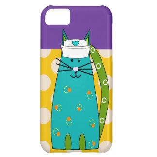 Nurse Cat Lover iPhone 4 Case Yellow Polka Dots