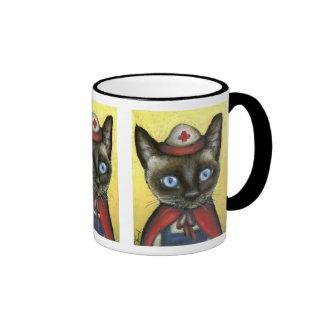 Nurse cat ringer coffee mug