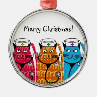 Nurse Cats Metal Ornament