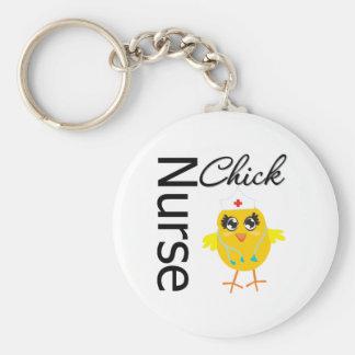Nurse Chick Basic Round Button Keychain