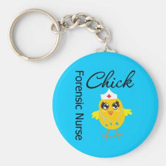 Nurse Chick v1 Forensic Nurse Basic Round Button Keychain