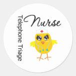 Nurse Chick v1 Telephone Triage Nurse Round Stickers