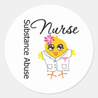 Nurse Chick v2 Substance Abuse Nurse Round Stickers