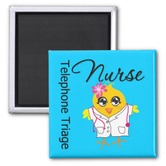Nurse Chick v2 Telephone Triage Nurse 2 Inch Square Magnet