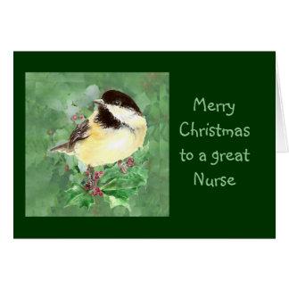 Nurse Christmas Chickadee Bird Holly Nature Cards