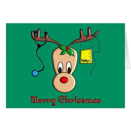 Nurse Christmas Reindeer Gifts Card