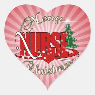 NURSE CHRISTMAS XMAS HEART STICKER