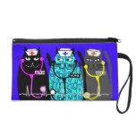Nurse Clutch Bag Whimsical Cats Wristlet Clutch