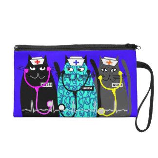 Nurse Clutch Bag Whimsical Cats Wristlet Purses