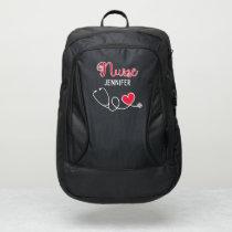 Nurse cute stethoscope w/ red heart & name custom port authority® backpack