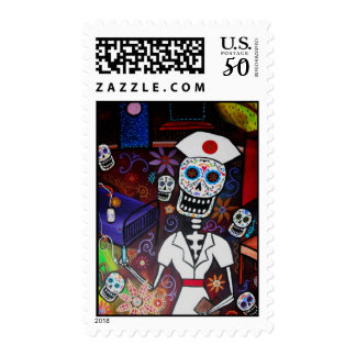 nurse day of the dead painting postage