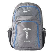 Nurse Doctor Custom White Caduceus Medical Grey Backpack