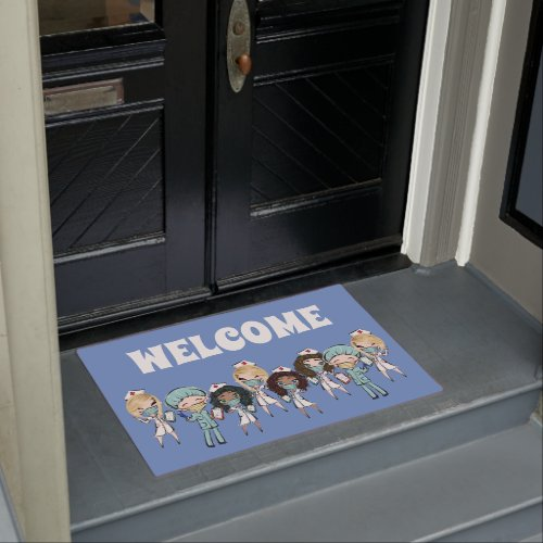 Nurse Doctor illustration welcome hospital clinic Doormat