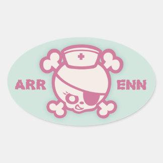 Nurse Dolly -Pink Oval Sticker