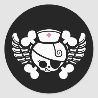 Nurse Dolly Wings Classic Round Sticker