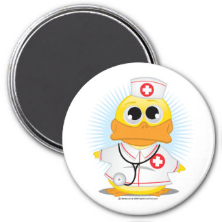 Nurse Duck 3 Inch Round Magnet