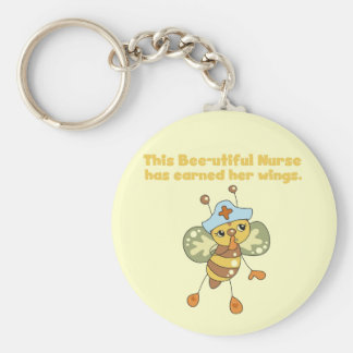 Nurse Earned Her Wings T-shirts and Gifts Basic Round Button Keychain