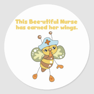 Nurse Earned Her Wings T-shirts and Gifts Classic Round Sticker